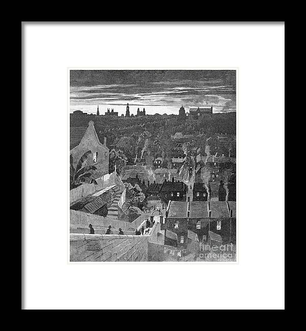 Engraving Framed Print featuring the drawing A Glimpse Of Sydney From Darlinghurst by Print Collector