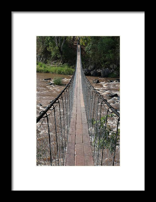 Long Framed Print featuring the photograph A Long Suspension Bridge Over A River by Diane Levit / Design Pics