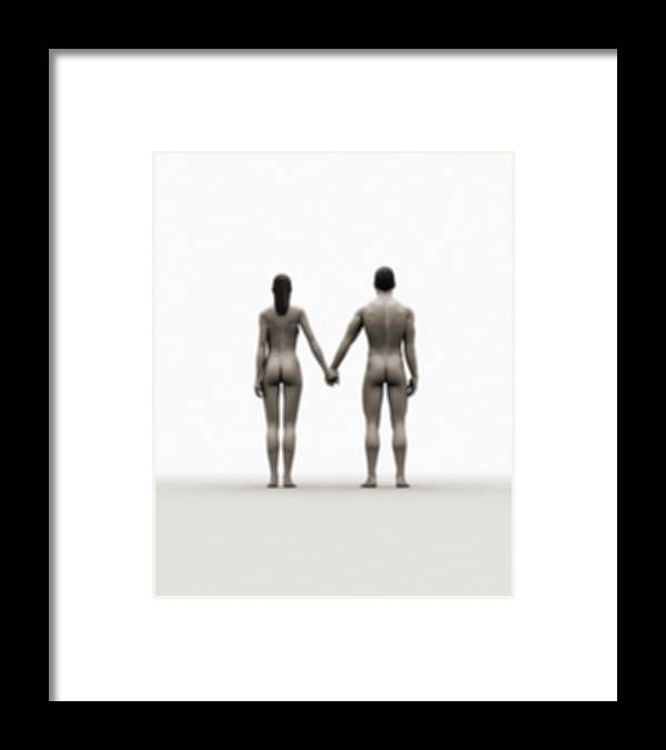Heterosexual Couple Framed Print featuring the digital art A Naked Couple Holding Hands by Jorg Greuel