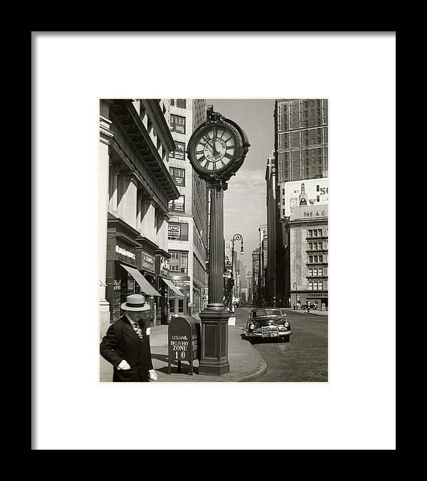 Public Mailbox Framed Print featuring the photograph A Street Clock On Fifth Ave., Nyc by George Marks