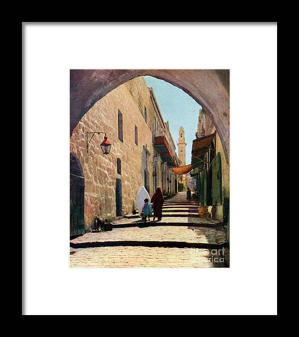 Shadow Framed Print featuring the drawing A Street In Jerusalem, Israel, 1926 by Print Collector