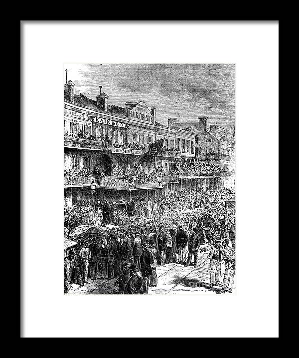 Democracy Framed Print featuring the drawing A Street In New Orleans On Election by Print Collector