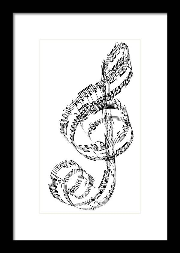 Sheet Music Framed Print featuring the digital art A Treble Clef Made From Beethovens by Ian Mckinnell
