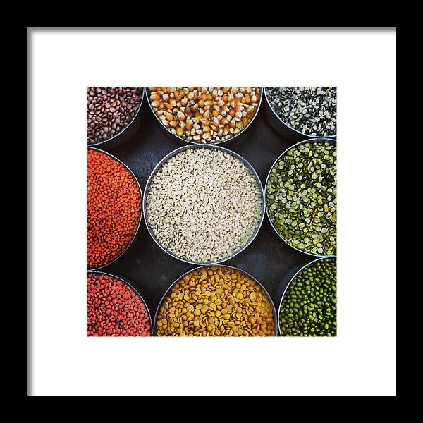 Healthy Eating Framed Print featuring the photograph A Variety Of Lentils by Anshu Ajitsaria