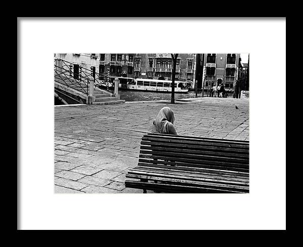 Vaporetto Framed Print featuring the photograph A Venetian Woman Alone In Venice, Italy by Elise Hardy