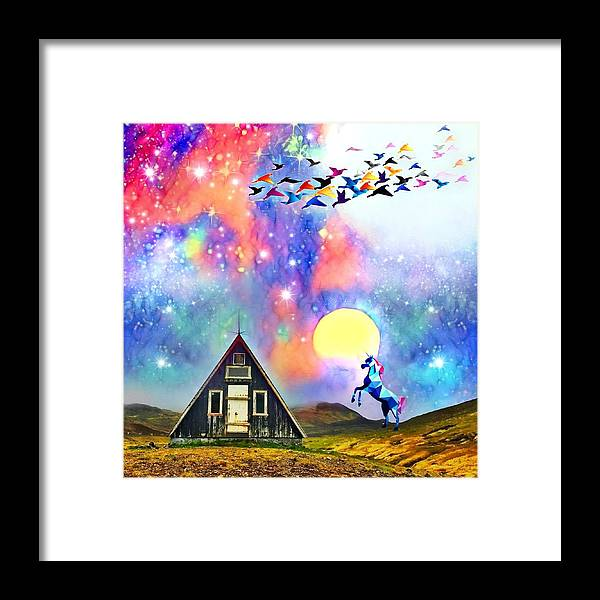 Framed Print featuring the digital art Abode of the Artificial-Dreamer Zero by Sureyya Dipsar