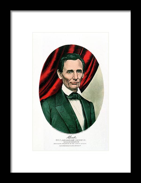 1865 Framed Print featuring the drawing Abraham Lincoln 1809-65, C1865. Artist by Print Collector