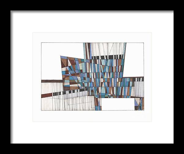 Abstract Framed Print featuring the drawing Abstract 45 by Rickie Jacobs