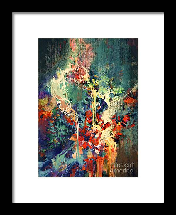 Concept Framed Print featuring the digital art Abstract Colorful Painting,melted by Tithi Luadthong