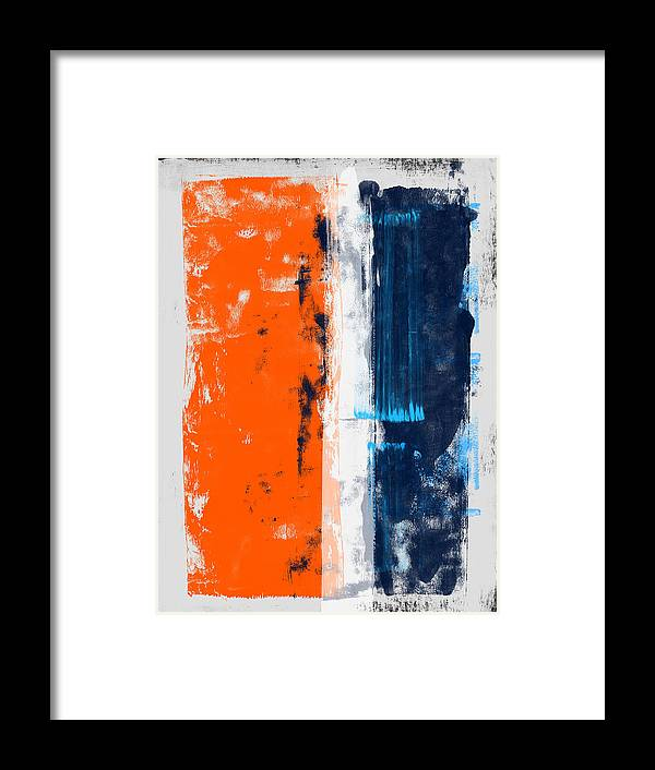 Abstract Framed Print featuring the painting Abstract Orange And Blue Study by Naxart Studio