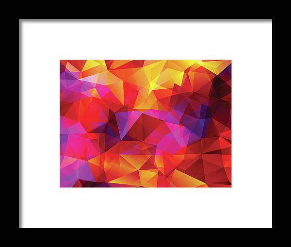 Rectangle Framed Print featuring the digital art Abstract Polygonal Background by Carduus