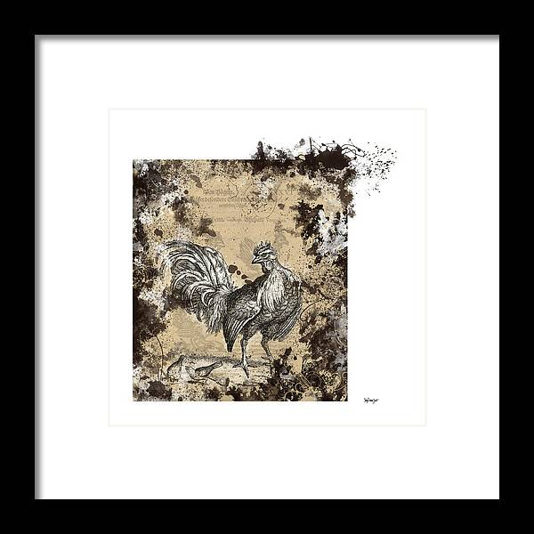 Antique Poultry Prints Grunge Modern Framed Print featuring the digital art Adam Lonitzer 1593, Barlow 1690 by Sigrid Van Dort