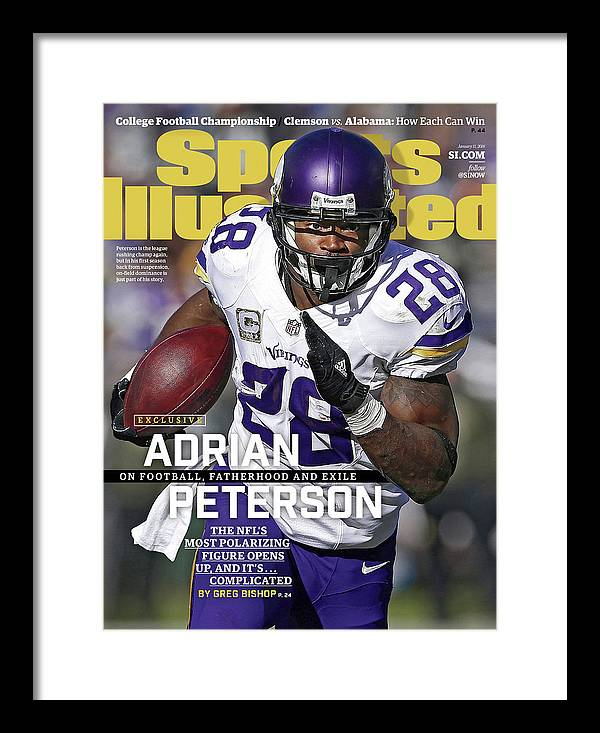 Magazine Cover Framed Print featuring the photograph Adrian Peterson Exclusive On Football. Fatherhood And Exile Sports Illustrated Cover by Sports Illustrated
