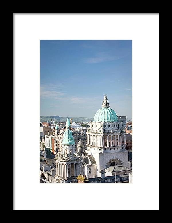 Belfast Framed Print featuring the photograph Aerial View Of City Hall, Belfast by Richardwatson
