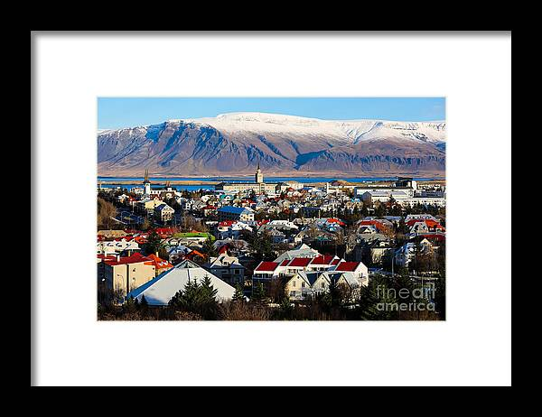 Icelandic Framed Print featuring the photograph Aerial View Of Reykjavik Iceland by Philip Ho