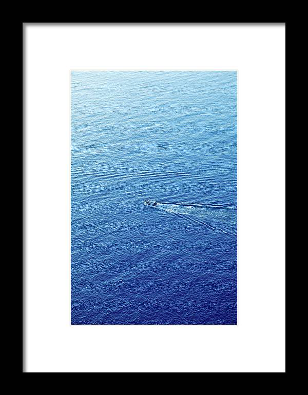 Curve Framed Print featuring the photograph Aerial View Of Sailing-boat by Caracterdesign