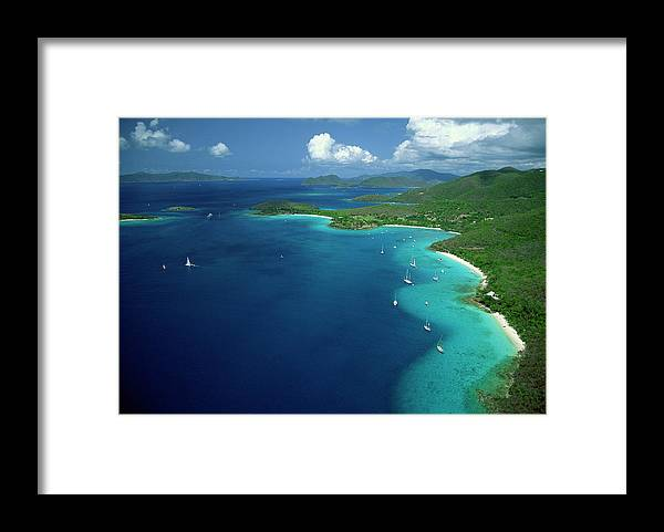 Sailboat Framed Print featuring the photograph Aerial View Of Shoreline by Don Hebert