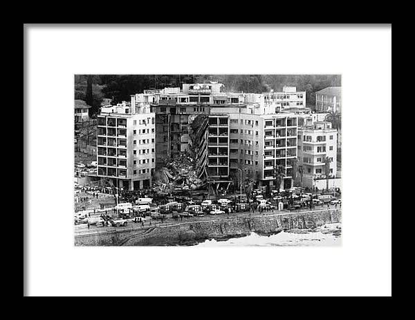 1980-1989 Framed Print featuring the photograph Aerial View Of The Us Embassy In Beirut by Bettmann