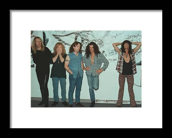 Tom Hamilton Framed Print featuring the photograph Aerosmith Backstage Portrait by Jim Steinfeldt