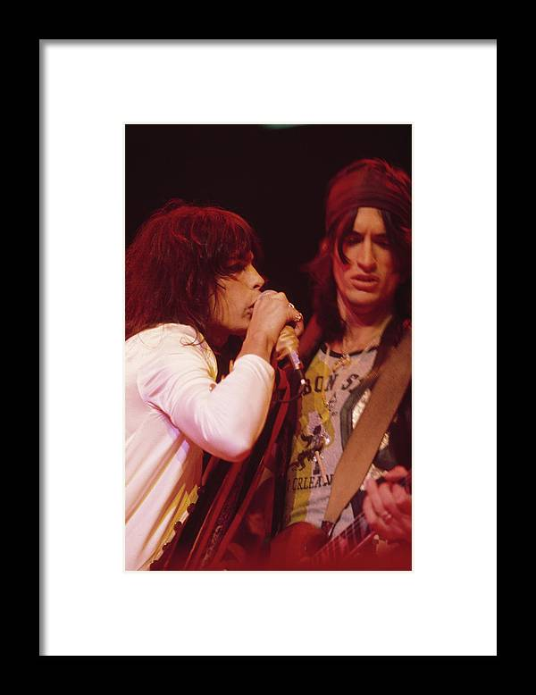 Singer Framed Print featuring the photograph Aerosmith Live by Fin Costello