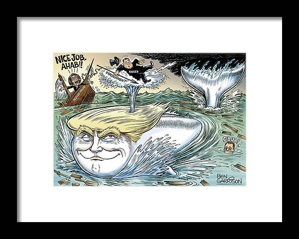 Trump Framed Print featuring the drawing Ahab Nadler and the Great Trump Whale by GrrrGraphics ART