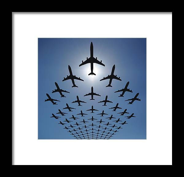 Expertise Framed Print featuring the photograph Airplane Silhouettes Fly In V Formation by Georgo
