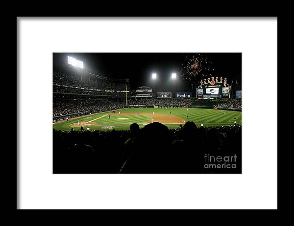 Game Two Framed Print featuring the photograph Alcs Los Angeles Angels Of Anaheim V by Jonathan Daniel
