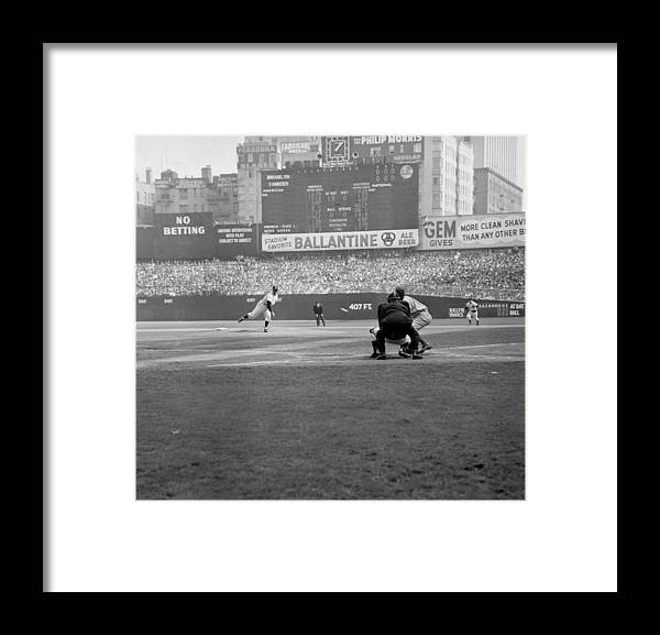 American League Baseball Framed Print featuring the photograph Allie Reynolds Of The Yankees At The by New York Daily News Archive