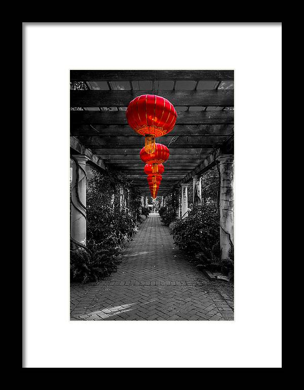 Red Framed Print featuring the photograph Along The Red Path by Christine Buckley