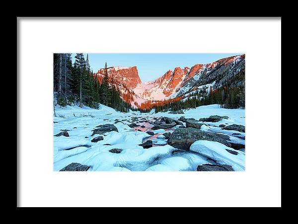 Bear Lake Hike Framed Print featuring the photograph Alpenglow At Dream Lake Rocky Mountain National Park by Nathan Bush