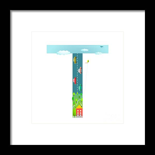 Symbol Framed Print featuring the digital art Alphabet Letter T Cartoon Flat Style by Popmarleo