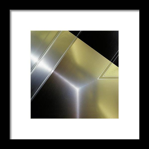 Fashion Framed Print featuring the digital art Aluminum Surface. Metallic Geometric Image.  by Rudy Bagozzi