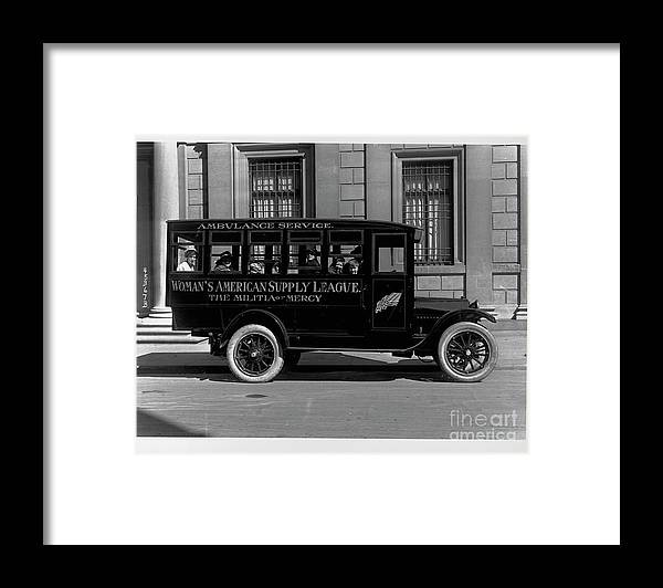 Ambulance Framed Print featuring the photograph Ambulance Transporting Children by Bettmann