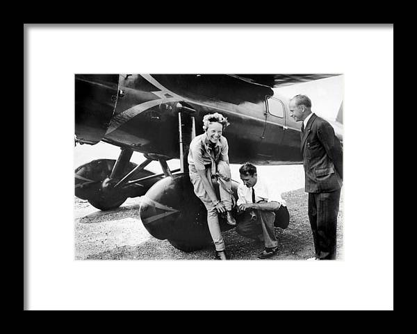 1930-1939 Framed Print featuring the photograph Amelia Earhart Arrives Fatigued And by New York Daily News Archive
