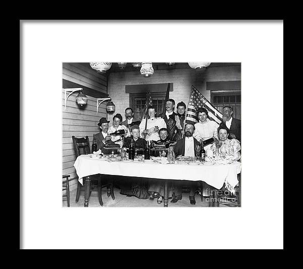 Mature Adult Framed Print featuring the photograph American Family Pouring Liquor by Bettmann