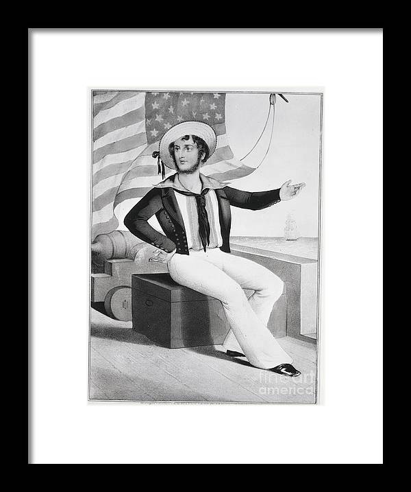 People Framed Print featuring the photograph American Sailor Lithograph by Bettmann