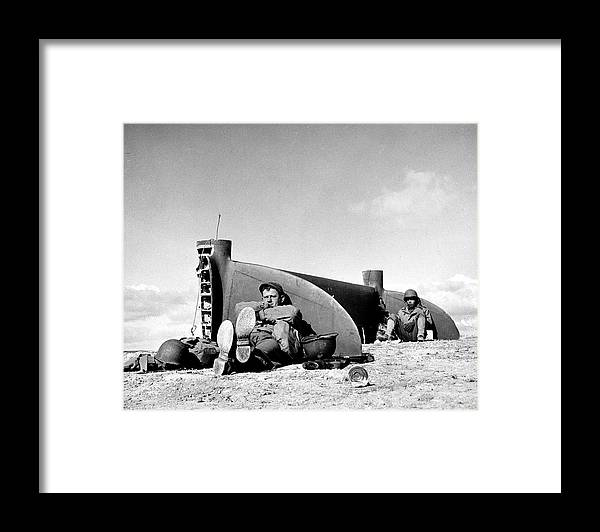Timeincown Framed Print featuring the photograph American Soldiers In Tunisia Wwii by Margaret Bourke-white