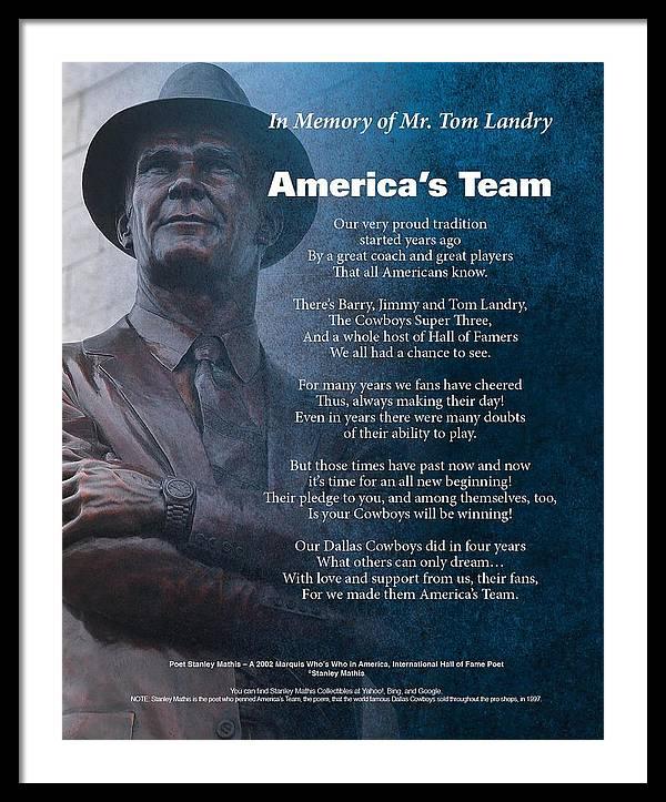 America's Team Framed Print featuring the digital art America's Team Poetry Art by Stanley Mathis