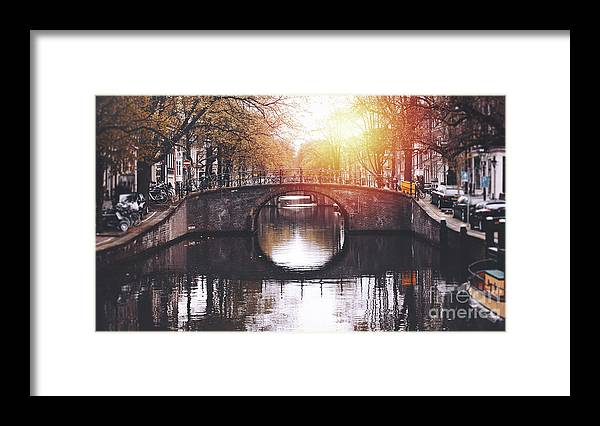 Jordaan Framed Print featuring the photograph Amsterdam Cityscape With Canal by Serts