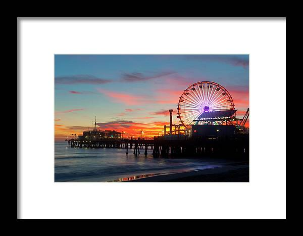 Scenics Framed Print featuring the photograph Amusement Park On Waterfront At Night by Blend Images/pete Saloutos