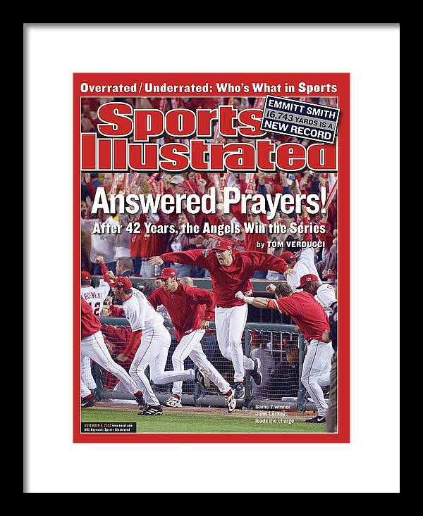 Magazine Cover Framed Print featuring the photograph Anaheim Angels John Lackey, 2002 World Series Sports Illustrated Cover by Sports Illustrated