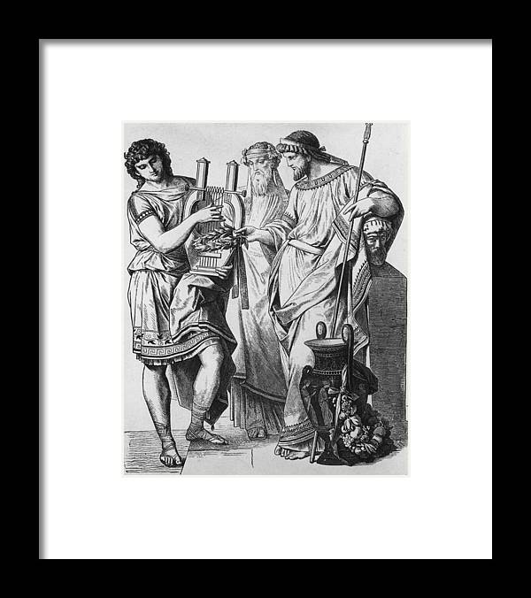 Young Men Framed Print featuring the photograph Ancient Greek Music by Hulton Archive