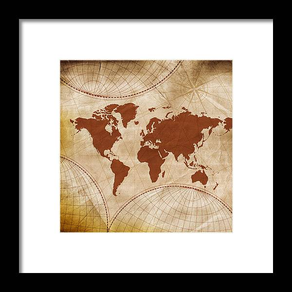 Art Framed Print featuring the photograph Ancient World Map by Teekid