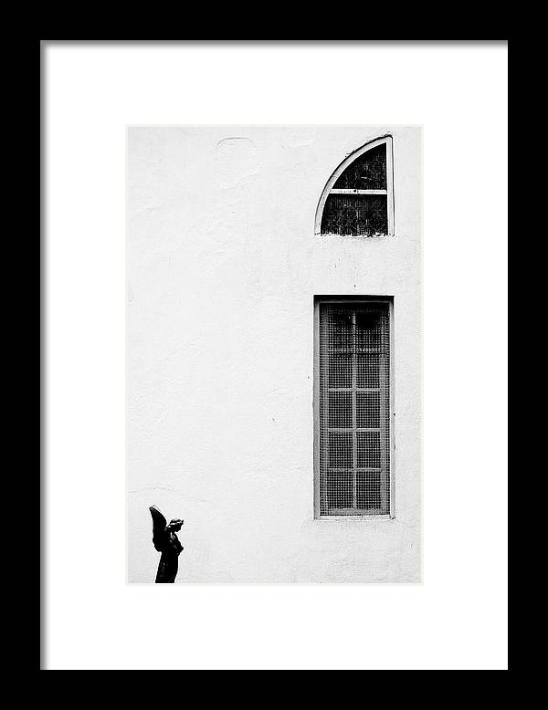Statue Framed Print featuring the photograph Angel Statue In Front Of A Wall by Win-initiative/neleman