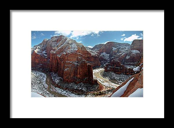 Scenics Framed Print featuring the photograph Angels Landing View From Top by Daniel Osterkamp