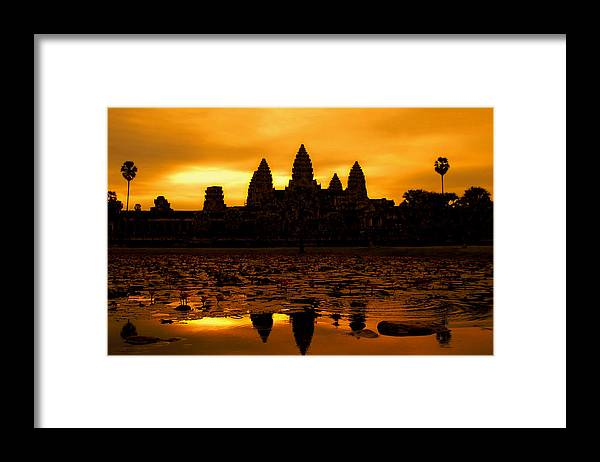 Cambodian Culture Framed Print featuring the photograph Angkor Wat At Sunrise by David Lazar