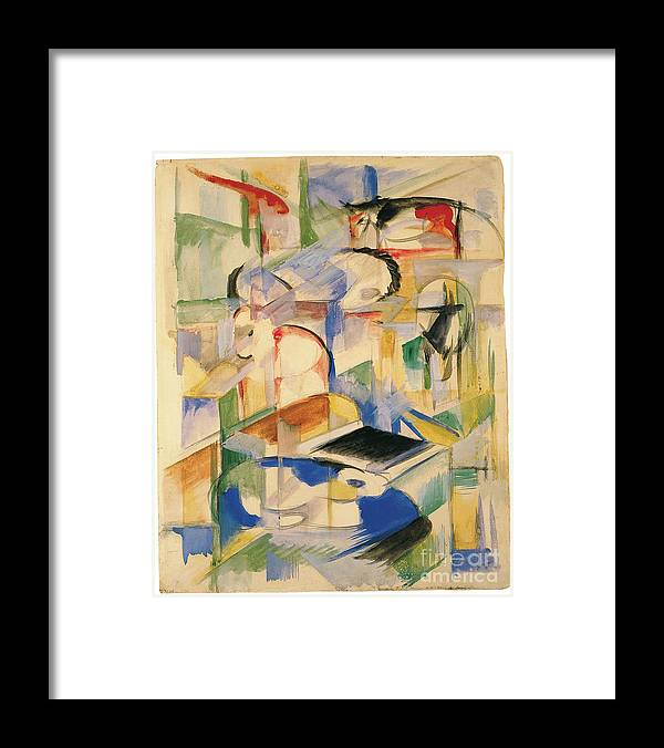 Gouache Framed Print featuring the drawing Animal Composition by Heritage Images