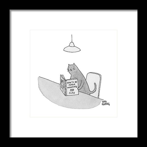 Cationless Framed Print featuring the drawing Annoying and Cute by Amy Hwang
