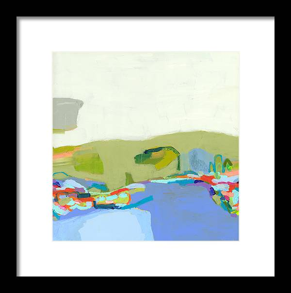 Abstract Framed Print featuring the painting Another Place by Claire Desjardins