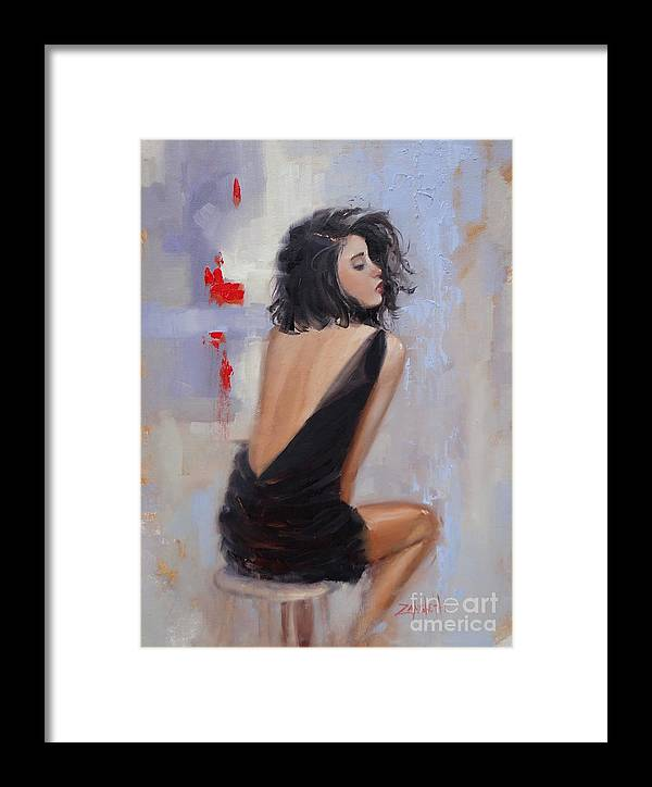 Beautiful Woman Framed Print featuring the painting Anticipation by Laura Lee Zanghetti